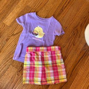 Colorful shorts set. Purple top, plaid shorts.